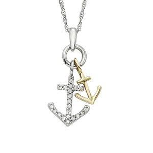 Jewelry - 1/10 Carat Diamond/10k Gold 2-Tone Anchor Necklace